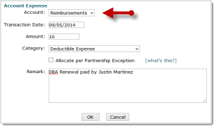 Deductible Expense Reimbursement Step 1